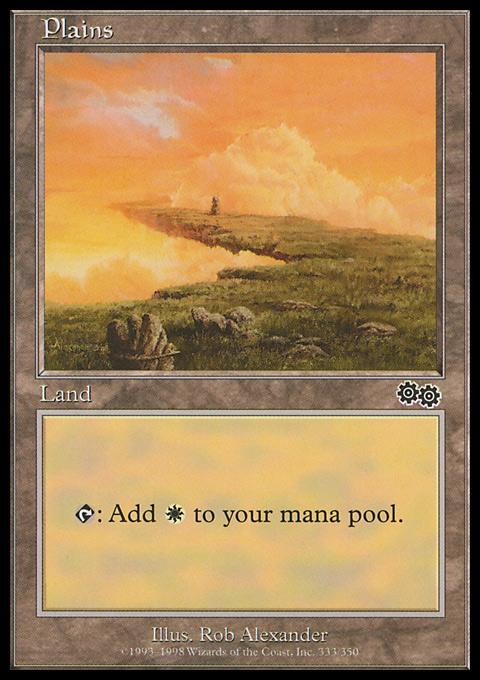 Plains (333)  card from Urza's Saga