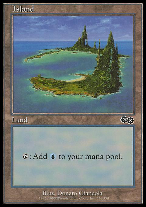 Island (336)  card from Urza's Saga