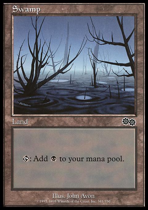 Swamp (341)  card from Urza's Saga