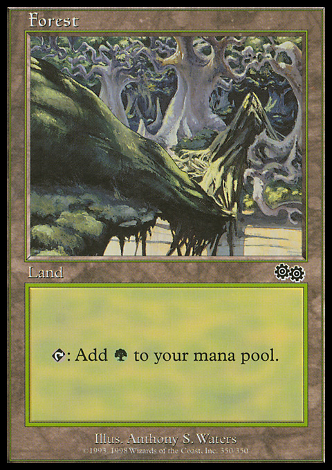 Forest (350) card from Urza's Saga