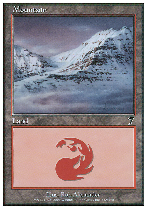 Mountain (338)  card from Seventh Edition