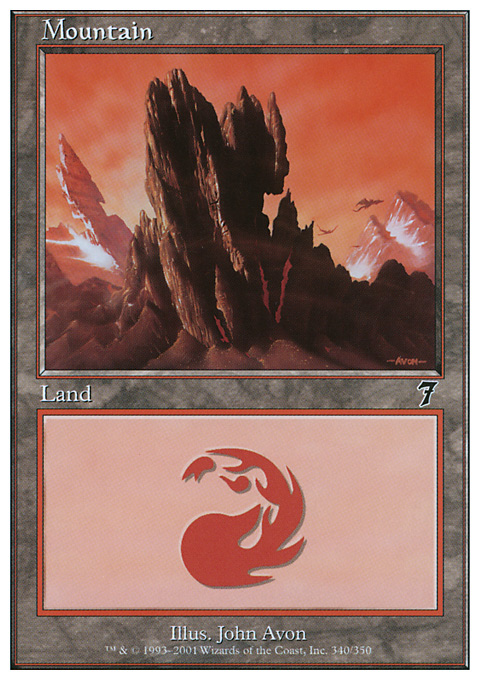Mountain (340)  card from Seventh Edition
