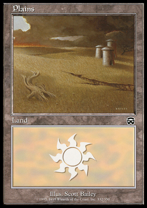 Plains (332) card from Mercadian Masques