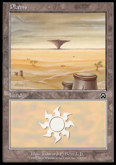 Plains (334) card from Mercadian Masques