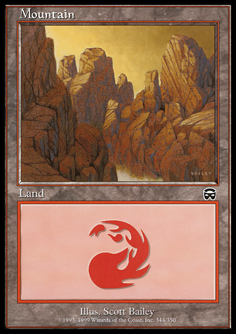 Mountain (344) card from Mercadian Masques