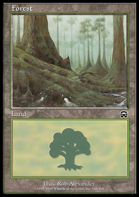 Forest (348) card from Mercadian Masques