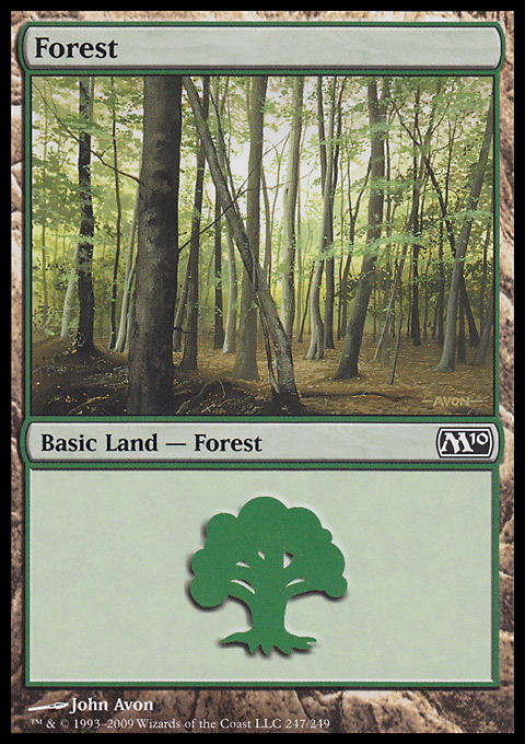 Forest (247) card from Magic 2010