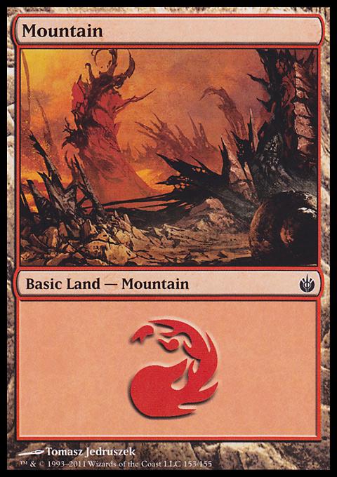 Mountain (153)  card from Mirrodin Besieged