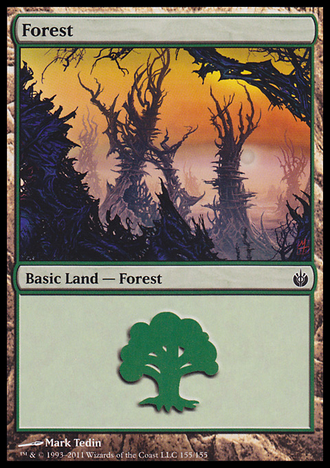 Forest (155) card from Mirrodin Besieged