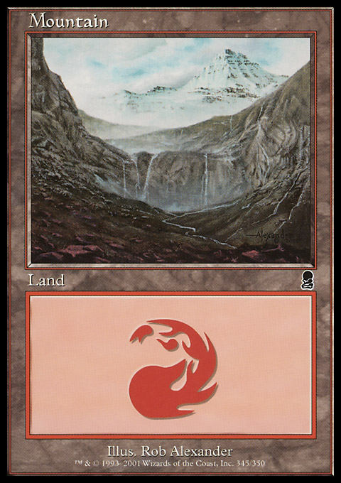 Mountain (345) card from Odyssey