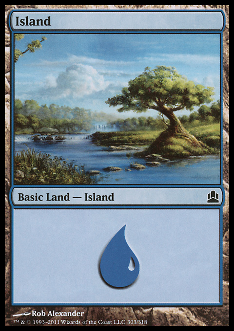 Island (303)  card from Magic: The Gathering-Commander