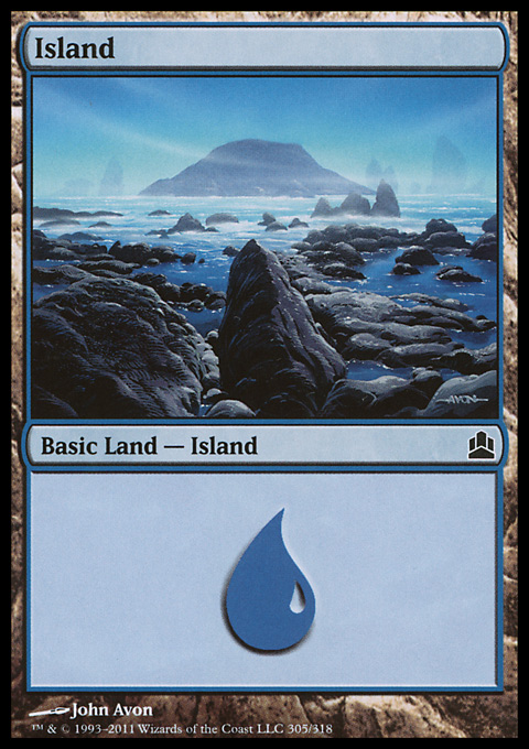 Island (305)  card from Magic: The Gathering-Commander