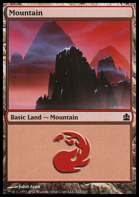 Mountain (312)  card from Magic: The Gathering-Commander