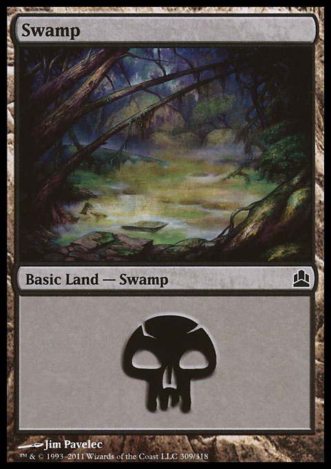 Swamp (309)  card from Magic: The Gathering-Commander