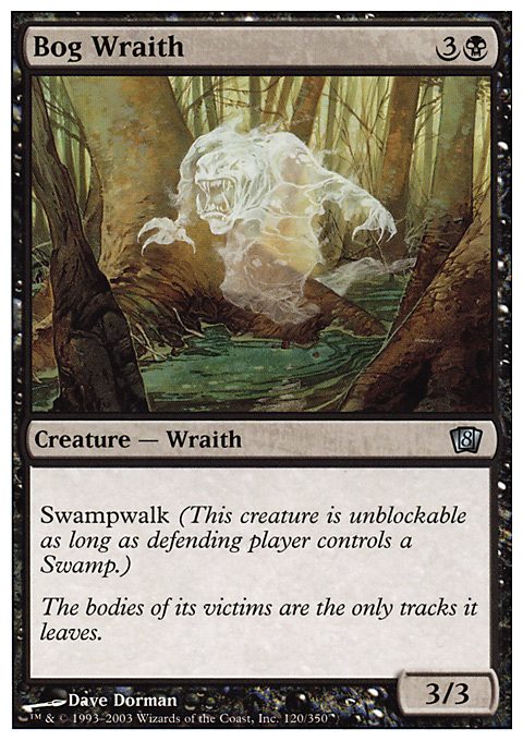 Bog Wraith card from Eighth Edition
