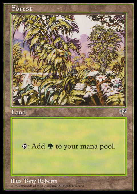 Forest (White Flowers Right) card from Mirage