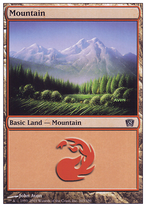 Mountain (343)  card from Eighth Edition