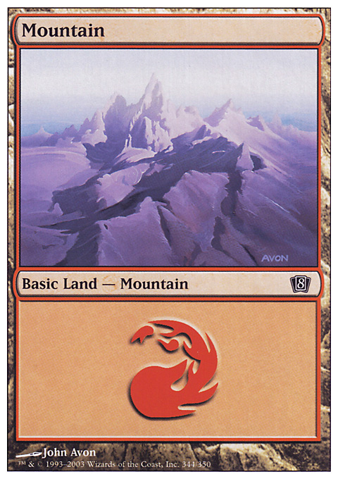 Mountain (344)  card from Eighth Edition