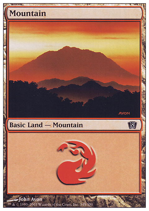 Mountain (345)  card from Eighth Edition