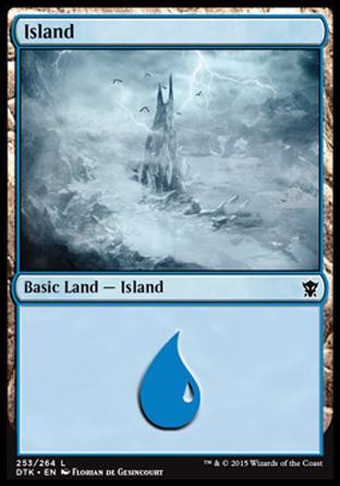 Island (253) card from Dragons of Tarkir