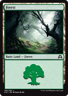 Forest (295) card from Shadows over Innistrad